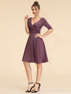 Cocktail Dress With Sleeves & V-Neck-Dusty Rose  3