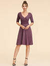 Cocktail Dress With Sleeves & V-Neck-Dusty Rose  2