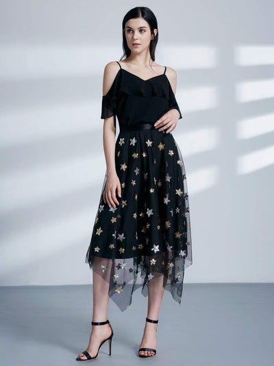 Alisa Pan Star Print Off Shoulder Top & Skirt Set