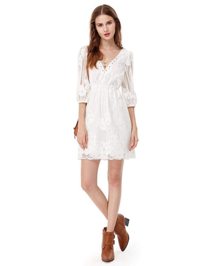 Alisa Pan V Neck Boho Lace Little White Dress