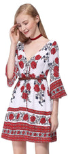 Alisa Pan Long Sleeve Boho Dress With Floral Print-Red  3