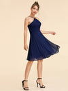 Alisa Pan Short Sleeveless Halter Dress-Navy Blue  2