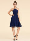 Alisa Pan Short Sleeveless Halter Dress-Navy Blue  1