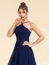 Alisa Pan Short Sleeveless Halter Dress-Navy Blue  5