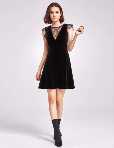 Alisa Pan Velvet Cap Sleeve Party Dress