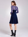 Alisa Pan Long Sleeve Velvet Party Dress-Midnight Blue  4