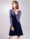 Alisa Pan Long Sleeve Velvet Party Dress-Midnight Blue  6