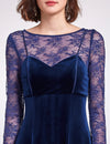 Alisa Pan Long Sleeve Velvet Party Dress-Midnight Blue  7