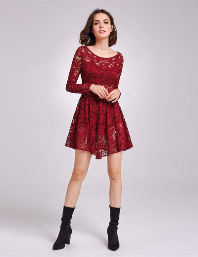 Alisa Pan Long Sleeve Sheer Lace Layering Dress