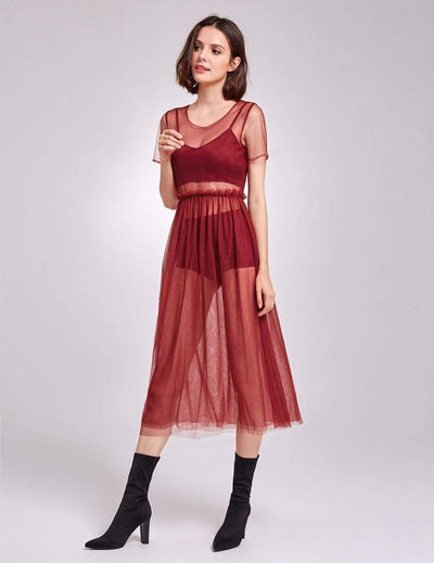 Alisa Pan Short Sleeve Sheer Layer Dress