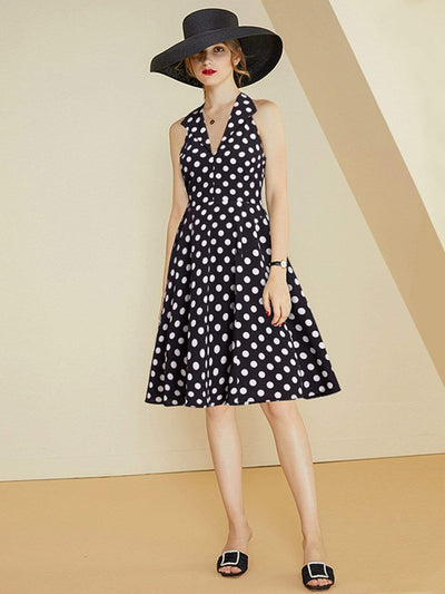 Alisa Pan V Neck Polka Dot Fit and Flare Dress