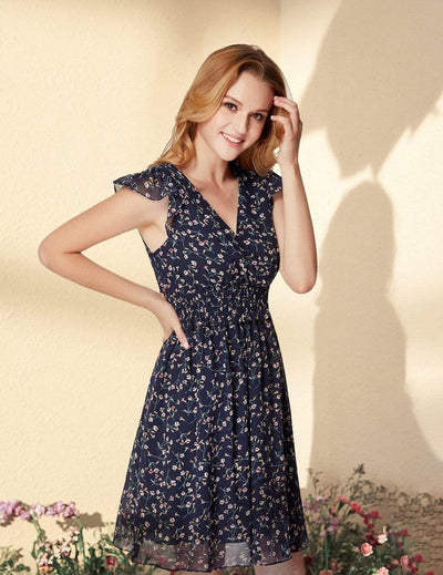 Alisa Pan Floral Print V Neck Short A Line Dress