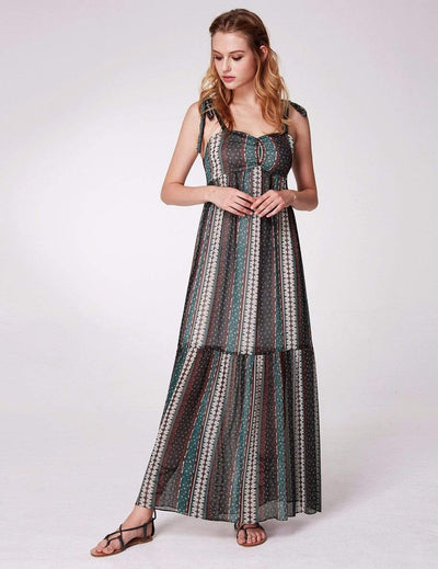 Alisa Pan Sleeveless Boho Printed Maxi Dress