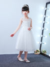 Cute O-Neck Lace Wedding Flower Girl Dress-White  3