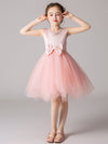 Cute O-Neck Lace Wedding Flower Girl Dress-Pink  1