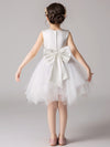 Cute O-Neck Lace Wedding Flower Girl Dress-White  2