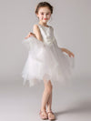 Cute O-Neck Lace Wedding Flower Girl Dress-White  4