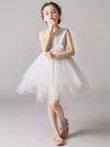 Cute O-Neck Lace Wedding Flower Girl Dress-White  1