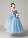 Cute O-Neck Lace Wedding Flower Girl Dress-Blue  2