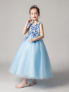 Cute O-Neck Lace Wedding Flower Girl Dress-Blue  3