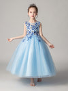 Cute O-Neck Lace Wedding Flower Girl Dress-Blue  1