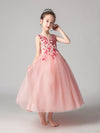 Cute O-Neck Lace Wedding Flower Girl Dress-Pink  3