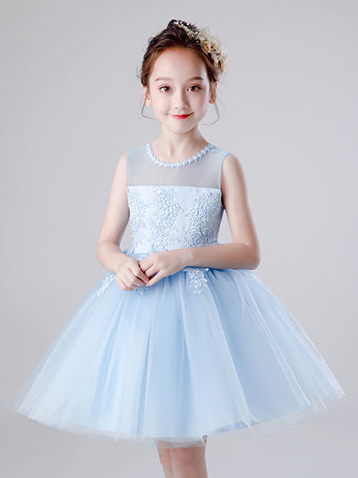 Cute Lace Round Neck Appliqued Tulle Flower Girl Dresses