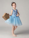 Cute O-Neck Lace Wedding Flower Girl Dress-Sky Blue  3