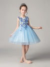 Cute O-Neck Lace Wedding Flower Girl Dress-Sky Blue  4