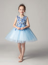 Cute O-Neck Lace Wedding Flower Girl Dress-Sky Blue  1