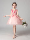 Cute O-Neck Lace Wedding Flower Girl Dress-Pink  4