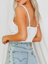 Cute Deep V Neck Crop Top For Women With Flower Lace-White 2
