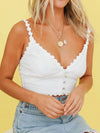 Cute Deep V Neck Crop Top For Women With Flower Lace-White 1