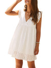 Cute Solid V Neck Loose Lace Sundress For Women-White 3