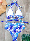 Women'S Colorful Printed Beach Wear Summer Swimsuit-Sky Blue 4