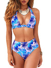 Women'S Colorful Printed Beach Wear Summer Swimsuit-Sky Blue 1