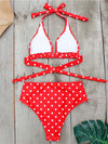 Women'S Colorful Printed Beach Wear Summer Swimsuit-Red And White 4