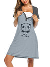 Women'S Short Sleeve Maternity Casual Breastfeeding A-Line Dress-Grey 4