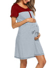 Women'S Short Sleeve Maternity Casual Breastfeeding A-Line Dress-Deep Grey 3