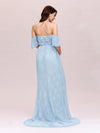 Dainty Off Shoulder High Waist Lace Maxi Evening Maternity Dress-Dusty Blue 2