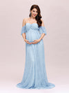 Dainty Off Shoulder High Waist Lace Maxi Evening Maternity Dress-Dusty Blue 3