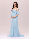 Dainty Off Shoulder High Waist Lace Maxi Evening Maternity Dress-Dusty Blue 4