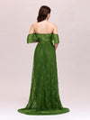 Dainty Off Shoulder High Waist Lace Maxi Evening Maternity Dress-Green 2