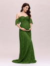 Dainty Off Shoulder High Waist Lace Maxi Evening Maternity Dress-Green 3