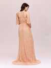 Dainty Off Shoulder High Waist Lace Maxi Evening Maternity Dress-Mushroom 2