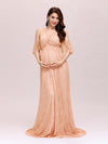 Dainty Off Shoulder High Waist Lace Maxi Evening Maternity Dress-Mushroom 3