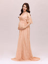Dainty Off Shoulder High Waist Lace Maxi Evening Maternity Dress-Mushroom 4