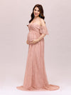 Dainty Off Shoulder High Waist Lace Maxi Evening Maternity Dress-Purple Orchid 4