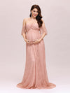 Dainty Off Shoulder High Waist Lace Maxi Evening Maternity Dress-Purple Orchid 1