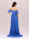Dainty Off Shoulder High Waist Lace Maxi Evening Maternity Dress-Sapphire Blue 2